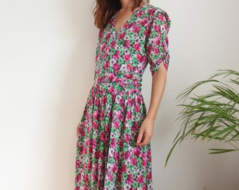 1980s Floral Windsmoor Dress