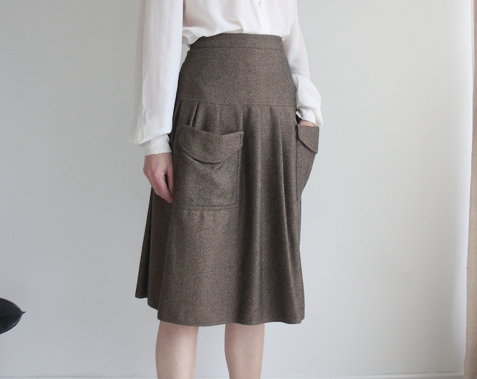 Vintage Cute Pocket High Waisted Wool Skirt