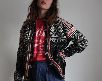 Vintage 70s Traditional Nordic Wool Cardigan