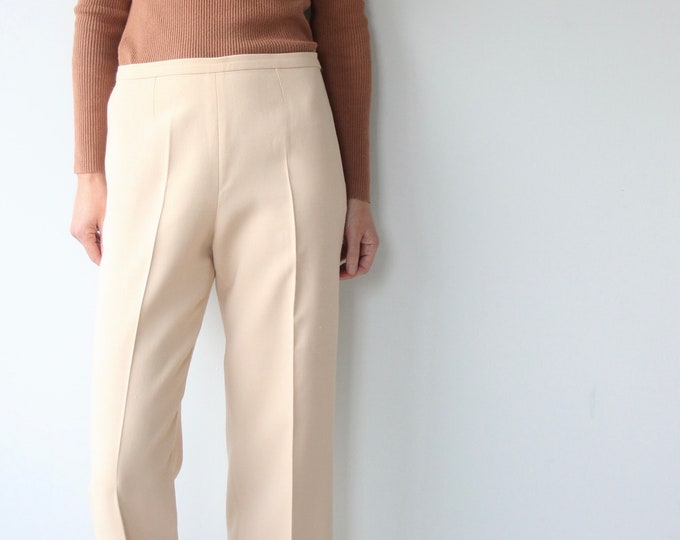 Vintage Cream MaxMara Pleated Wide Trousers