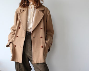 Aquascutum Double Breasted Camel Hair and Wool Coat