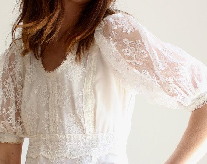 Featured listing image: White 1970s Maxi Boho Wedding Dress