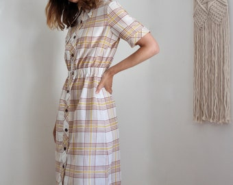1970s Preppy Check Shirt Dress