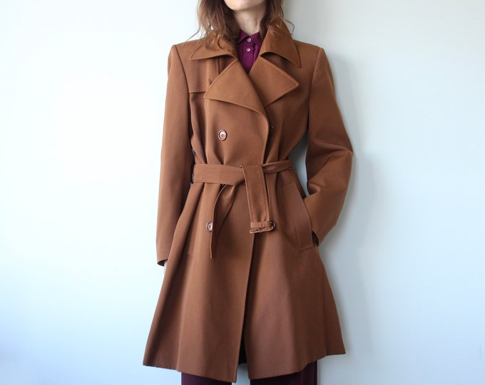 Vintage Brown Oversized Belted Unisex Trench Coat