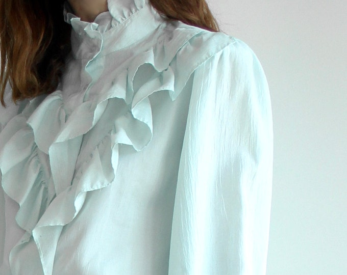 Vintage 80s Mint Ruffle Collar Blouse