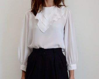 White Tiered Frill Collar 70's Blouse