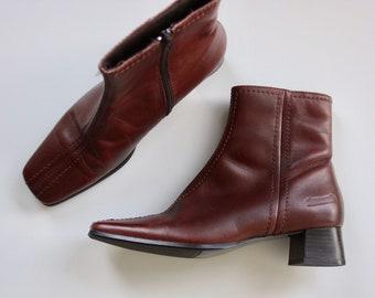 Pierre Cardin Leather Tan Block Heel Boots Size 38