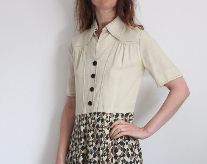 70s Shirt Dress with Matching Short Jacket