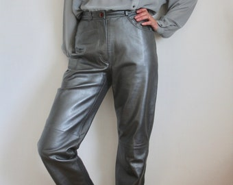 Betty Barclay Silver Grey Metallic 80's Leather Trousers