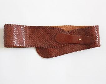 Tan Leather Woven Belt