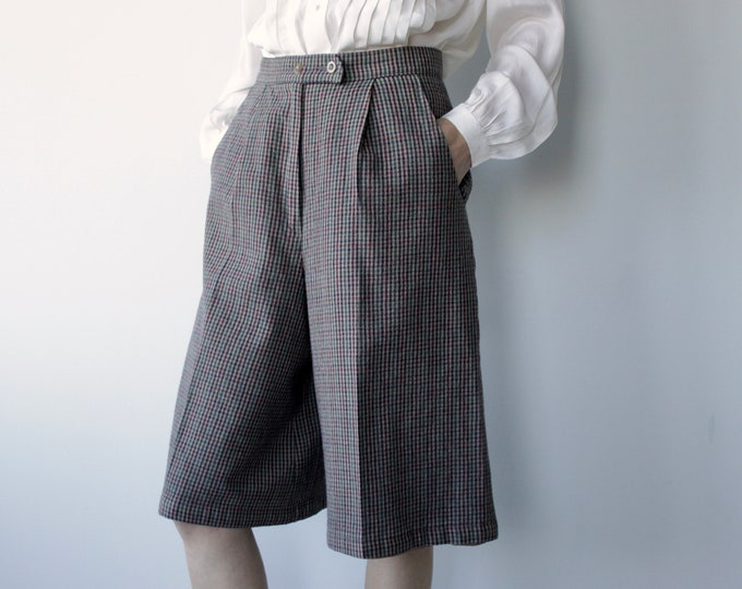 Check Wool Bermuda Shorts Culottes