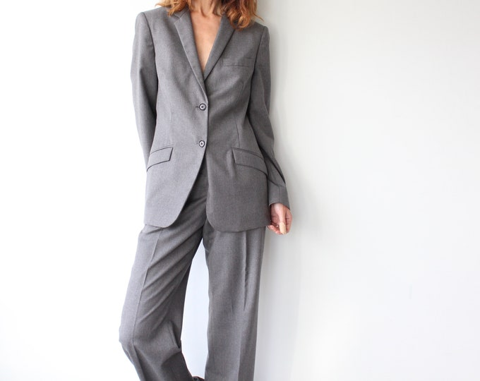 Featured listing image: Grey Calvin Klein Ladies Pure New Wool Trouser Suit M