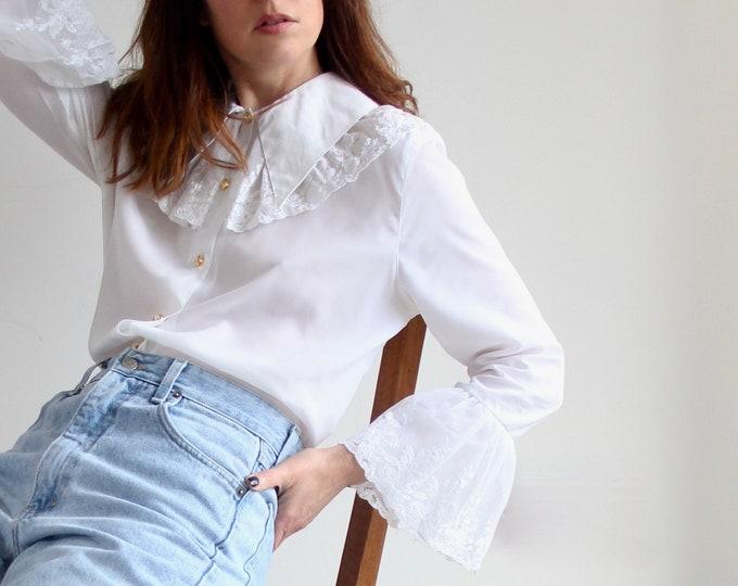 White Evening Lace Trim Blouse