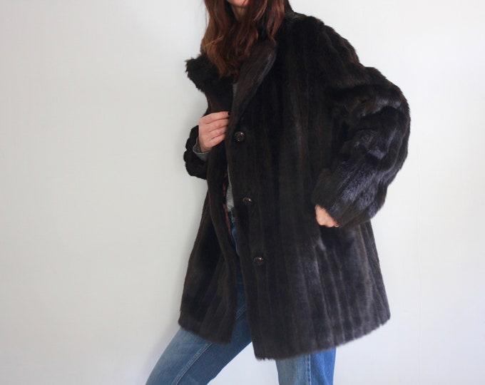 1950's/60s Chestnut Brown Faux Fur Astraka Coat UK 12-14