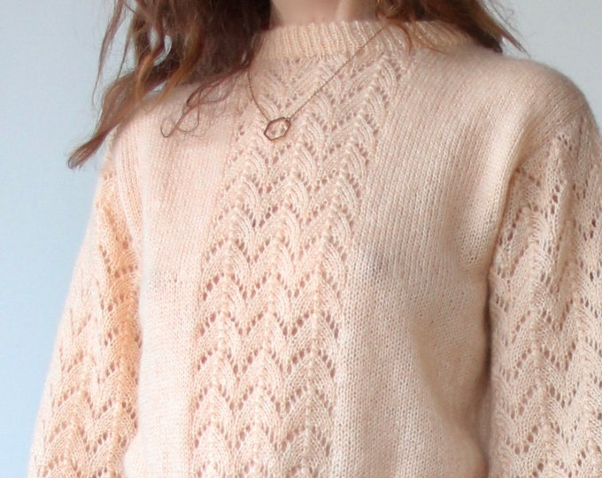 Vintage 70s Hand Knitted Pointelle Jumper