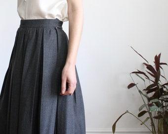 Marella Grey Wool Pleated Midi Skirt