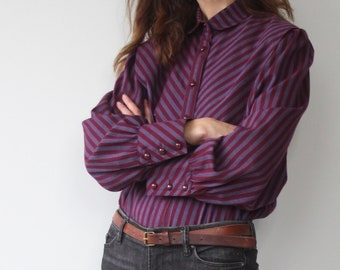 Vintage Striped Equestrian Style  Riding Blouse