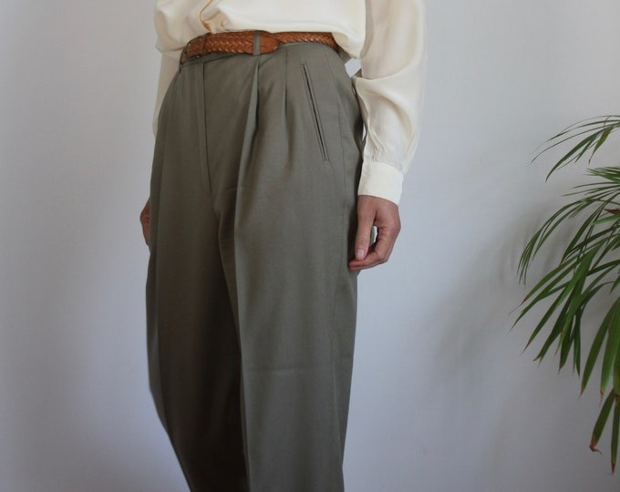 Sage Green Ballantyne Wool High Waist Double Pleat Trousers