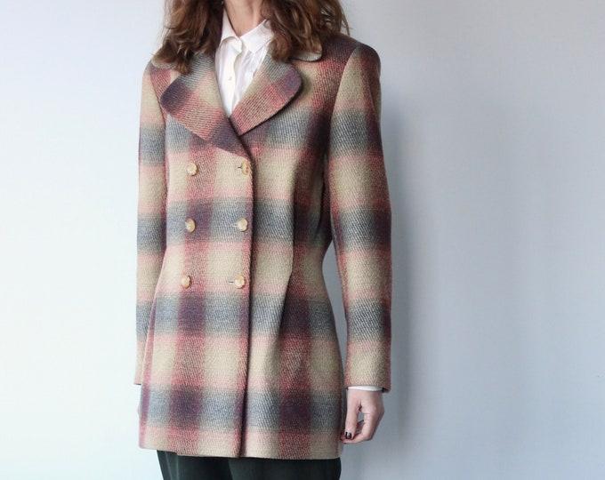 Vintage Karl Lagerfeld Plaid Check Wool Blazer