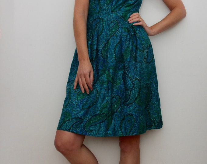 Beautiful Blue Print 50s 60s Dress Size UK 10