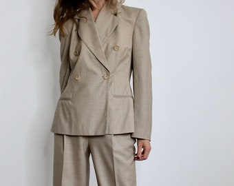 Vintage Jaeger Beige Pure Virgin Wool Trouser Suit