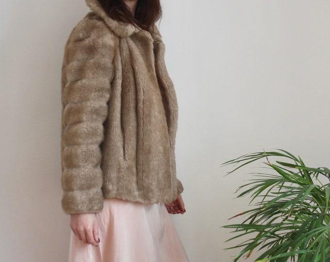 1960's Mink Faux Fur Beige Short Jacket