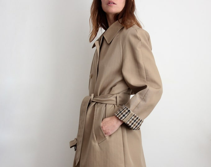 Aquascutum Oversized Beige Belted Unisex Trench Trench