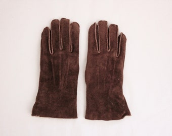 Brown Suede Leather Gloves M