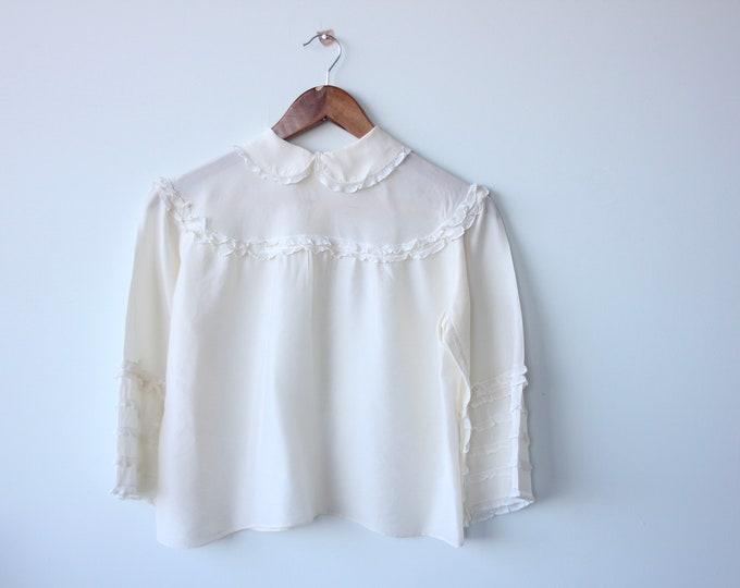 Delicate Cream Silk Lace Frill Blouse Peter Pan Collar