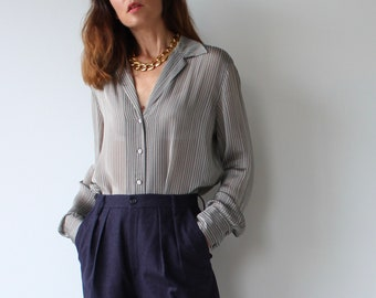 Vintage Marella Grey Stripe Blouse IT 46