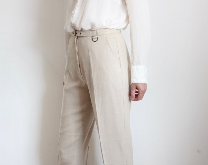 High Waist 80s Neutral Beige Pleated Front Trousers