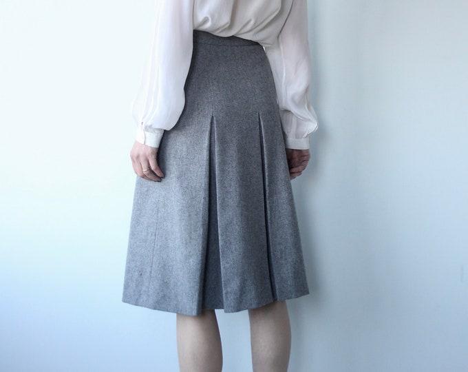 Vintage 70s Jaeger All Wool Box Pleat Skirt