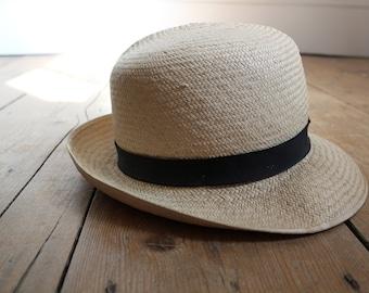Vintage Panama Trilby Unisex Hat Size 57cm