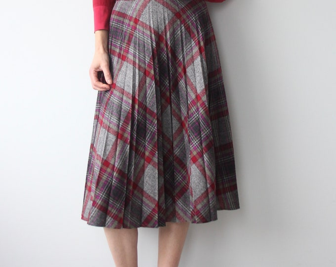 TISSU Francais French Pleated Wool Pleat Westwood Style Punk Skirt