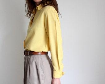 Sunflower Yellow Viyella 80s Blouse