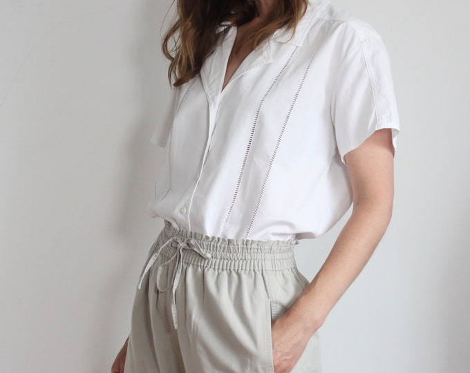 White Poplin Jaeger Short Sleeve Blouse