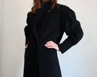 Iconic Mansfield Black Cashmere and Wool Coat