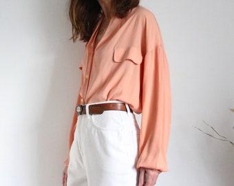 Soft Peach Italian Silk Shawl Collar Blouse By Antonio Baldan