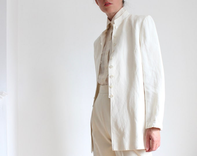 Featured listing image: Cream Silk Linen Mandarin Collar Blazer