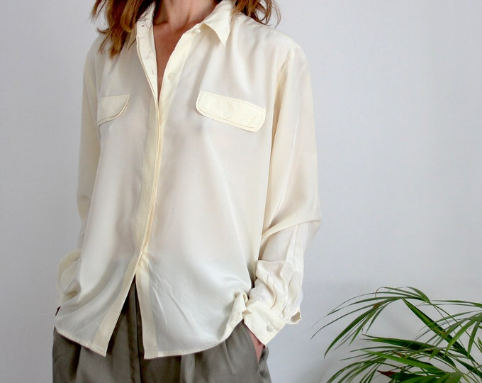 Cream 100% Silk Pocket Blouse