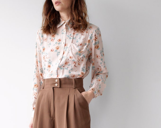 All Silk Vintage 80s Alba Fornari Floral Blouse
