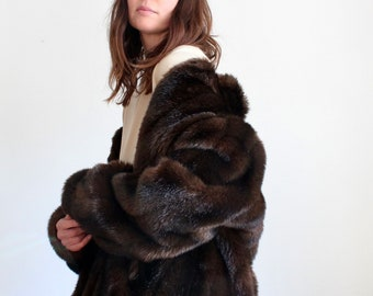Brown 1950's Luxury Faux Fur Coat By Astraka London
