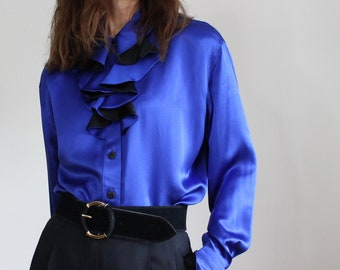Royal Blue 100% Silk ESCADA Couture Ruffle 80s Blouse