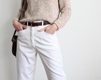 White High Waist All Cotton 80s  Khakis Chinos