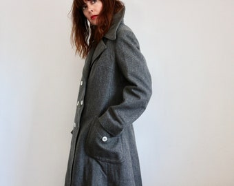 Grey Jaeger Military Style Wool 1960s Coat
