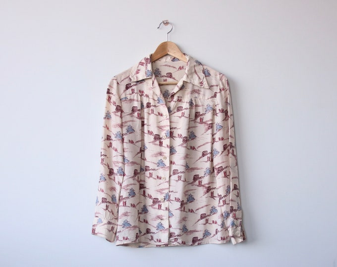 Vintage Silk Novelty Print Blouse