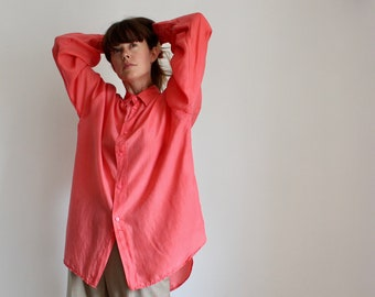 Neon Coral Pink Silk Oversized 90s Blouse Shirt