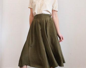 100% Silk 80's Khaki Pleated Full Skirt