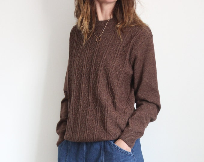 TOOTAL Brown Wool Unisex Sweater Pullover Jumper