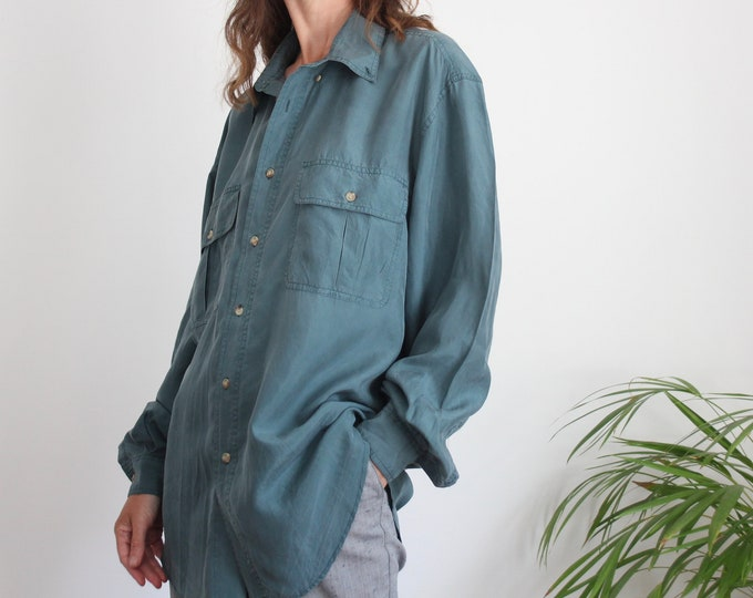 Teal Oversize Pure Silk Blouse Shirt Size L